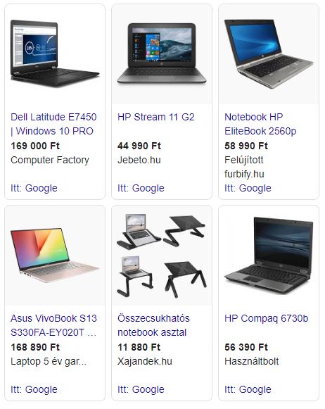 Google Shopping hirdetés